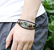 leather Charm BraceletsUnisex Alloy Leather Handcrafted Vintage Strand Bracelet