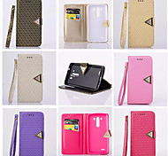 LG G3 PU Leather / Metal Full Body Cases / Cases with Stand Solid Color / Metal Finish / Special Design case cover