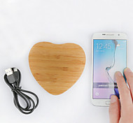 Bamboo Wooden Love Qi Wireless Charging Pad for Nokia /Samsung Galaxy S6/S6 Edge