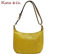 Kate & Co.® Women Cowhide Shoulder Bag Yellow - TH-02211
