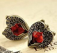 Women's Charming Heart-shaped Red Crystal Earrings