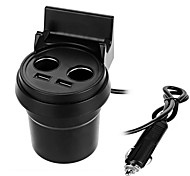 Cwxuan™ Universal 5V 3.1A Dual USB + Dual Car Cigarette Lighter Ports Car Charger with Phone Holder