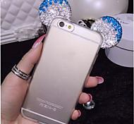 """3d Mickey Mouse strass orelhas macio TPU transparente proteger telefone iphone caso mais 6 / 6s acrescida de 5,5 """"(cores sortidas)"""