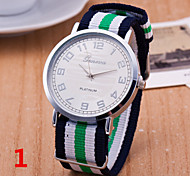 Woman And Man Striped Canvas Nylon Strap Wrist  Watch Cool Watches Unique Watches Fashion Watch