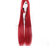 venta caliente rojo largo cabello lacio, animado 100cm peluca cosplay
