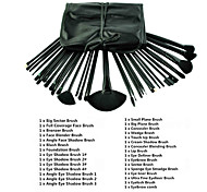 32pcs Cosmetic Facial Make up Brush Kit Wool Goat Hair Makeup Brushes Tools Set with Black Synthetic Leather Case