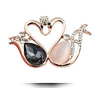 Little Swan Brooch High-End Crystal Opal Brooch