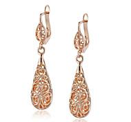 HKTC Vintage Nickel Free 18k Rose Gold Plated Vine Hollow Pattern Teardrop Earrings