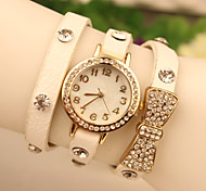 Ms. Latest Listing Watches Leather Bracelet Watch Crystal Diamond Bow Three Times Watch