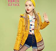 ELFSACK Women's Round Neck Long Sleeve Down & Parkas Red / Yellow - 1422008