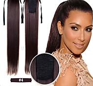 synthétique 22 pouces long ruban droite queue de cheval postiche moyen cheveux couleur brune de l'usine