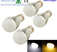 YouOKLight® 4PCS E27 3W 6*SMD5730 260LM White/ Warm White Light LED  High quality Globe Bulbs (AC110-120V/220-240V)