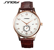 SINOBI Men's Wrist watch Calendar Water Resistant / Water Proof Sport Watch Quartz Leather Band Luxury Brown
