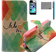 LEXY® Green Diamond Pattern PU Full Body Leather Case with Screen Protector and Stylus for iPhone 5C