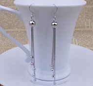 925 Sterling Silver Bead Long Tassel Earrings