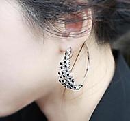 Black and White Diamond Exaggerated Big Hoop Earrings
