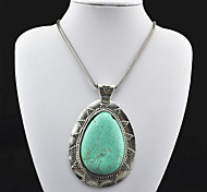 Vintage Look Antique Silver Plated Big Water Drop Turquoise Stone Necklace Pendant (1PC)