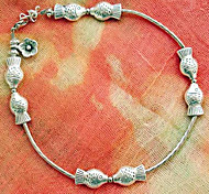 Vintage Style Retro National Style Kiss Fish Silver-Plated Anklet
