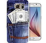 os bolsos do caso da tampa do padrão de moeda pc volta para Samsung Galaxy S6 / S6 borda