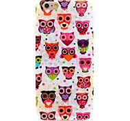 búho búhos de la serie de la familia del IMD impreso con brillo TPU suave de la contraportada para el iPhone 6 / 6s