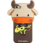 Fashion Cute Guitar of Cattle Cow Soft Silicone Back Cover For Apple 5 5s 3D Fabitoo Rubber Gel Case Cover