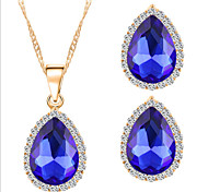 Lucky Doll Women's All Matching Luxury Gem Silver Plated Necklace & Earrings Jewelry Sets