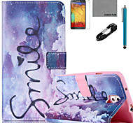 COCO FUN® Purple Dream Pattern PU Leather Case with V8 USB Cable Flim and Stylus for Samsung Galaxy Note 3/Note 4