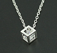Women's Three Dimensional Cube Zircon Crystal Pendant Necklaces 1pc