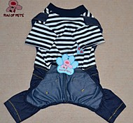 Dog / Cat Clothes/Jumpsuit Green / Blue Summer Cartoon / Stripe Cosplay / Birthday / Valentine / Holiday / Cowboy / Striped / Fashion