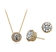 Jewelry Set Classic Elegant Crystal Unique Design Crown Pendant Necklace Earrings Girlfriend Gift