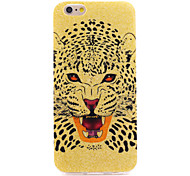 Gold Hunting Leopard IMD Printed with Glitter TPU Soft Back Cover for iPhone 6/6S