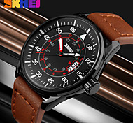 SKMEI® New Military Design Genuine Leather Date Analog Display Quartz Watch