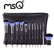 MSQ New 12pcs Makeup Brushes Set Alminium Ferrule Cosmetic Tool MAC Makeup Style High Quality Synthetic Hair With PU Leather Case(Blue)