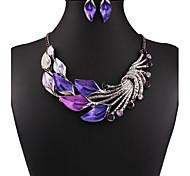 MPL Retro color drop oil plus drill Leaf Necklace Earrings Set