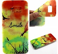 Smiling Face Feathers Words Phrase Pattern 0.6mm Ultra-Thin Soft Case for Samsung Galaxy S7/S7 edge/S7 PLUS
