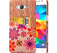 karzea ™ motif fleur rose en cuir PU arrière de cas de recouvrement avec porte-cartes et d'être grand-G530 Premier / core G360 Premier