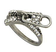 Rhinestone Zipper Shape Unique Ring