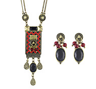 Ethnic Vintage Style Long Pendant Necklace Stud Earrings Indian Jewelry Set