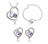 Jewelry Set Classic Elegant Crystal Unique Design Heart Pendant Necklace Earrings Bracelet Girlfriend Gift