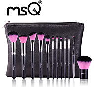 MSQ New 12pcs Makeup Brushes Set Alminium Ferrule Cosmetic Tool MAC Makeup Style  High Quality Synthetic Hair With PU Leather Case(PINK)