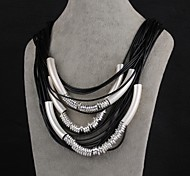 Fashion Generous Multiwire Metallic Leather Rope Statement Necklace(Silvery)(1PC)