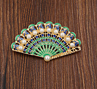 Fashion Women Fashion Pearl Set Enamel Fan Brooch