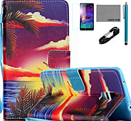 COCO FUN® Sunrise Palm Pattern PU Leather Case with V8 USB Cable Flim and Stylus for Samsung Galaxy Note 4/Note 5