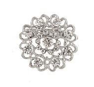 chapeamento de prata / strass broche mulheres oco amor broche de casamento / partido 1pc
