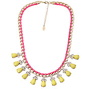 Fashion Women Stone Set Platied Statement Necklace