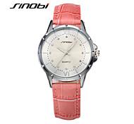 SINOBI® Brand Women Pink Leather Fashion Wrist Watches Diamond Nail Silver Case Girls Casual Quartz Wristwatches Montre Cool Watches Unique Watches