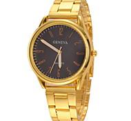 Couple's Casual Design Gold Alloy Band Quartz Wristwatch