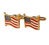 Jewelry Brass Material, Flags Shape Cufflinks