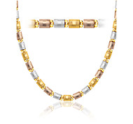 Three Color Gold Necklace&Bracelet 18K Gold Plated Jewelry New 5.6MM Chain Necklace&Bracelet For Men/Women N50133