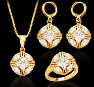 New Trendy Women Party Gift 18K Gold Plated White Zircon Crystal Necklace Earrings Fashion Jewelry Sets S20052